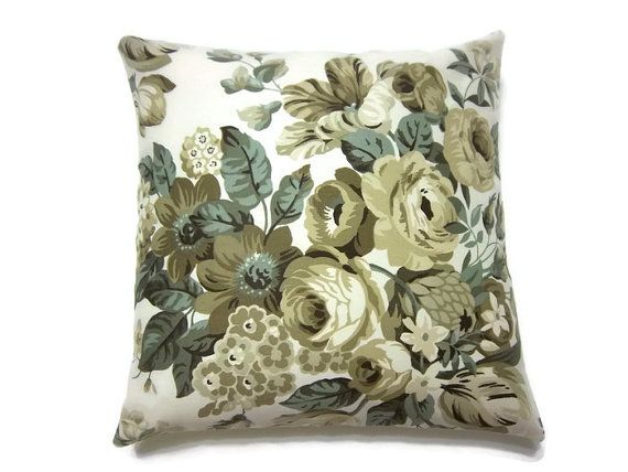Items Similar To Decorative Pillow Cover Olive Green Sage Cream Ecru Taupe Handmade Fl Design Throw Accent Inch X On Etsy