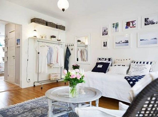 White Cool Studio Apartment Design