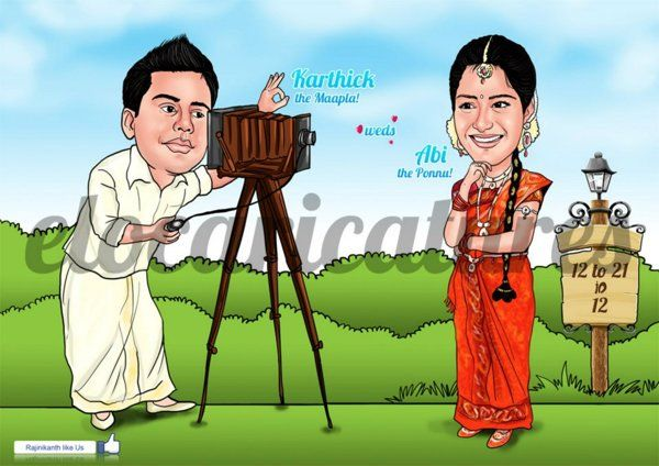 South Indian Wedding Caricature Wedding Caricature Caricature Wedding Invitations Caricature
