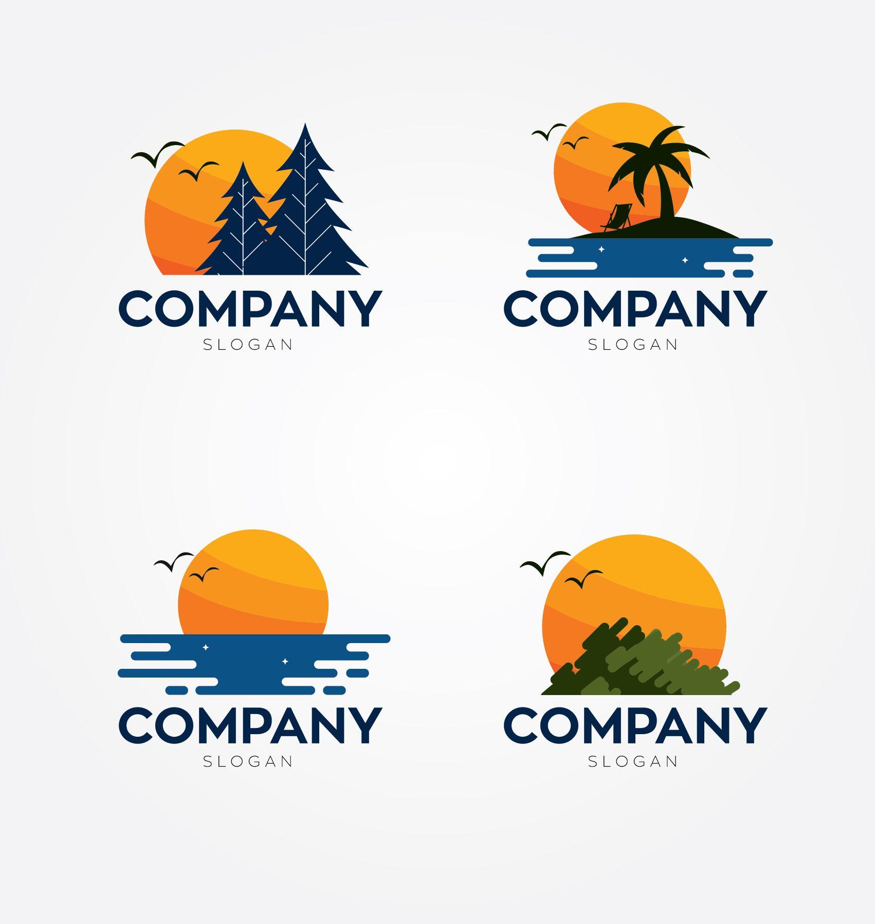 Sunset Logos Vector Image On Desain Logo Desain Inspirasi