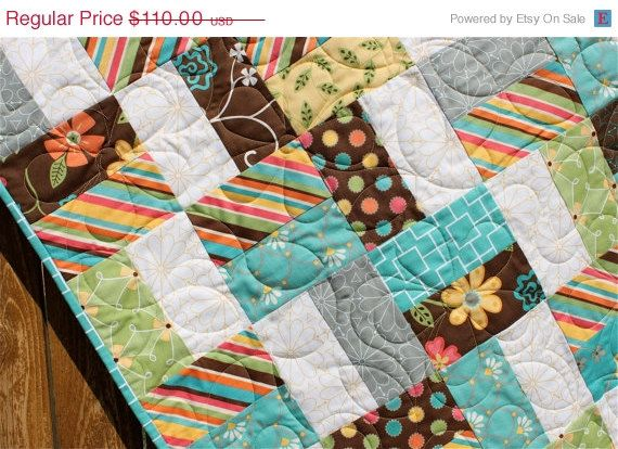 Whimsical Floral & Striped Baby Girl Quilt