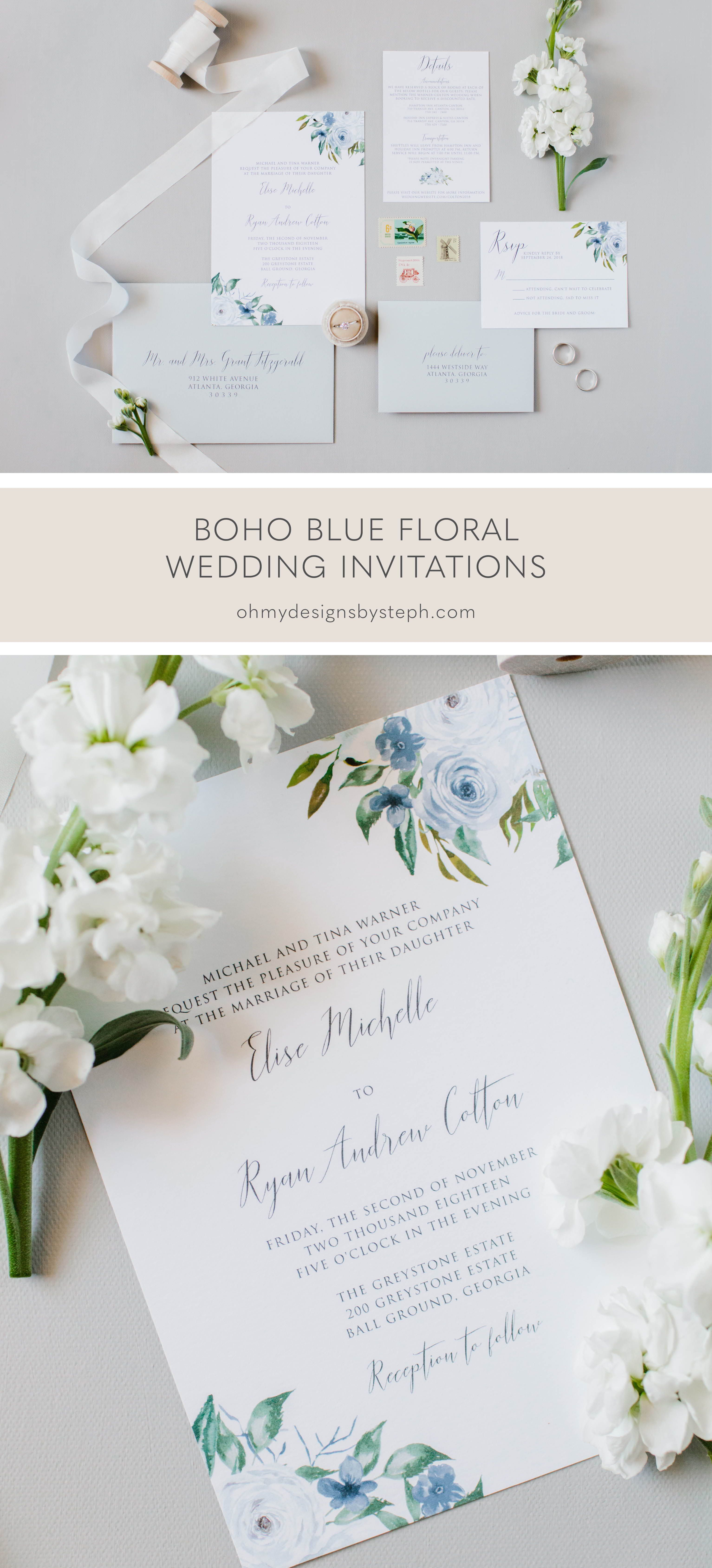 Dusty Blue Floral Wedding Invitation Sample Oh My Designs By Steph In 2020 Wedding Invitations Boho Floral Wedding Invitations Wedding Invitations