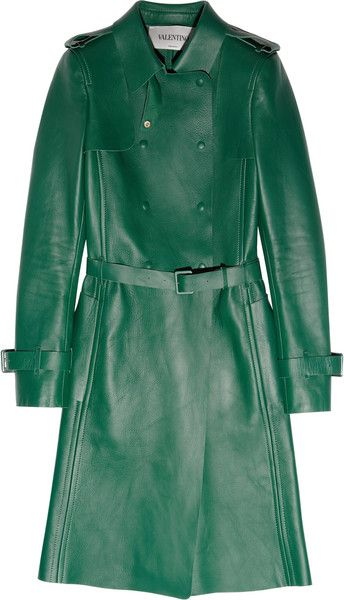 Women's Green Leather Trench Coat | Leather trench coat and Trench