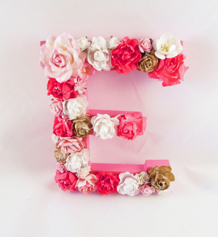 Custom Name Letter Floral Name Letter Pink Flower Letter
