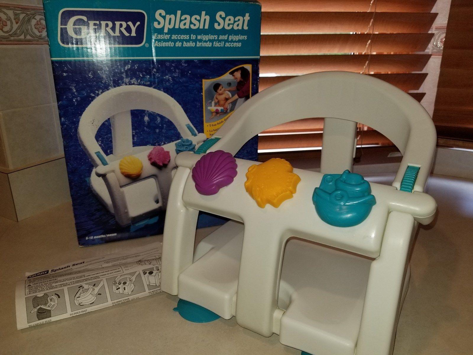 Gerry Splash Baby Bath Seat Tub Ring Suction Cup Chair Toy Bar Folds ...