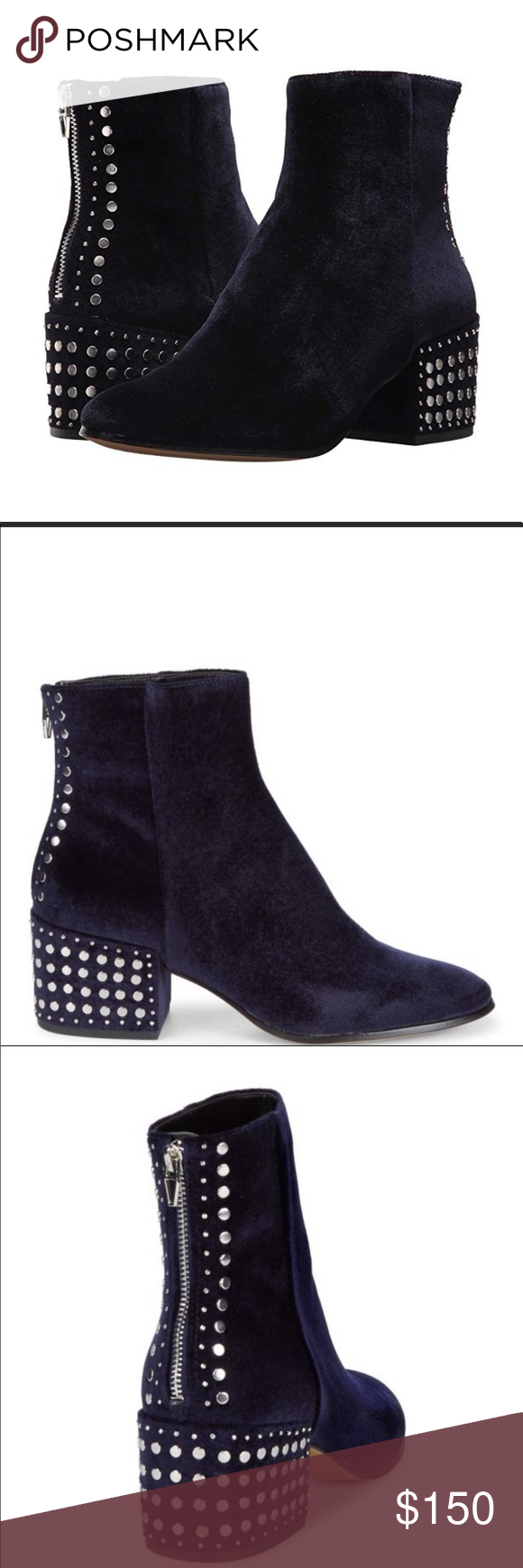 Women/'s Shoes Dolce Vita Mazey Suede Studded Block Heel Boots Smoke *New*