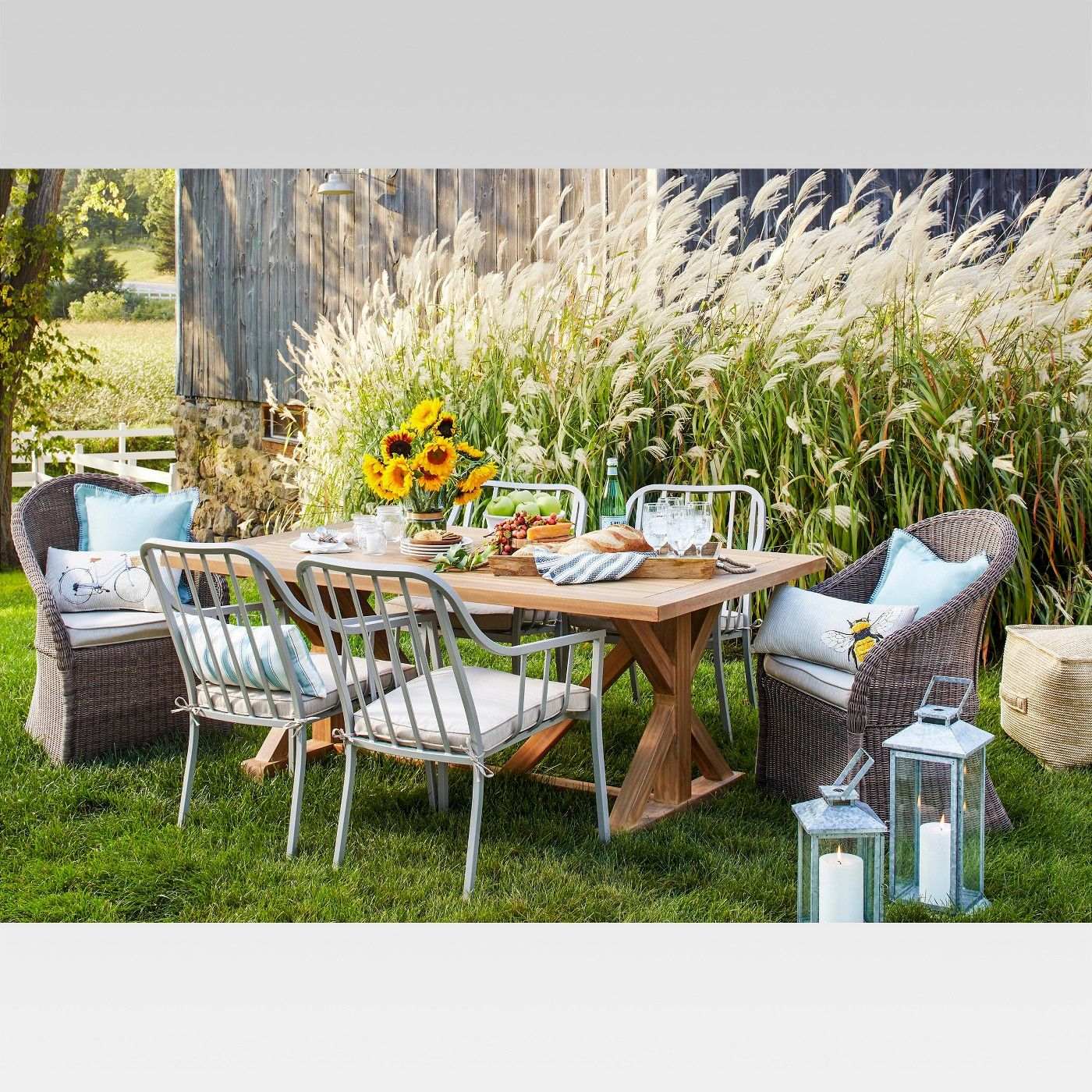 Morie Farmhouse Wood Outdoor Dining Table Threshold Image 4 Of 4 Target Outdoor Furniture Target Patio Furniture Outdoor Table Settings