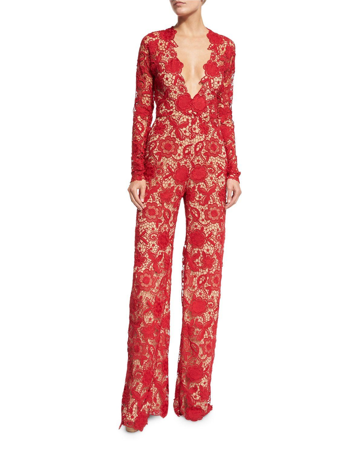a335e6ffb078 NAEEM KHAN LONG-SLEEVE PLUNGING LACE JUMPSUIT, RED. #naeemkhan #cloth #