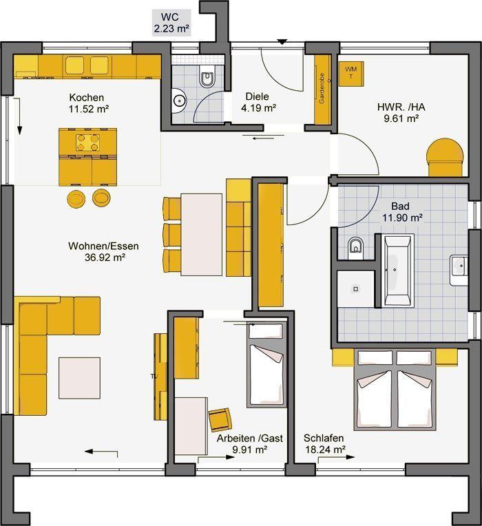 Architekten haus fertighaus finess 105 grundriss eg haus for Architekten bungalow modern