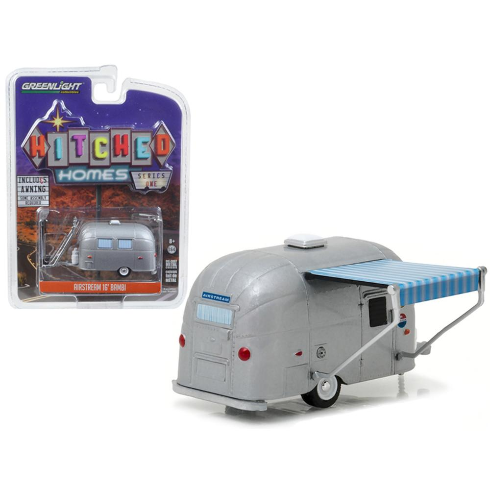 Vintage Airstream 16 Bambi With Awning Silver 1 64 Diecast Model By Greenlight