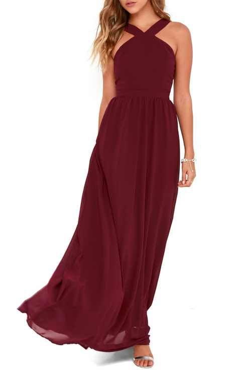 Lulus Cross Neck A Line Chiffon Gown Halter Top Bridesmaid Dress Burgundy Bridesmaid Dresses Burgundy Maxi Dress