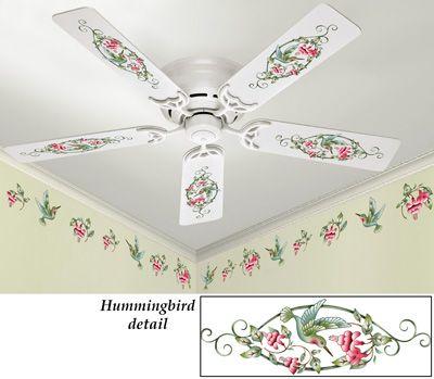 Removable Hummingbird Fan Wall Decals Hummingbird Decor