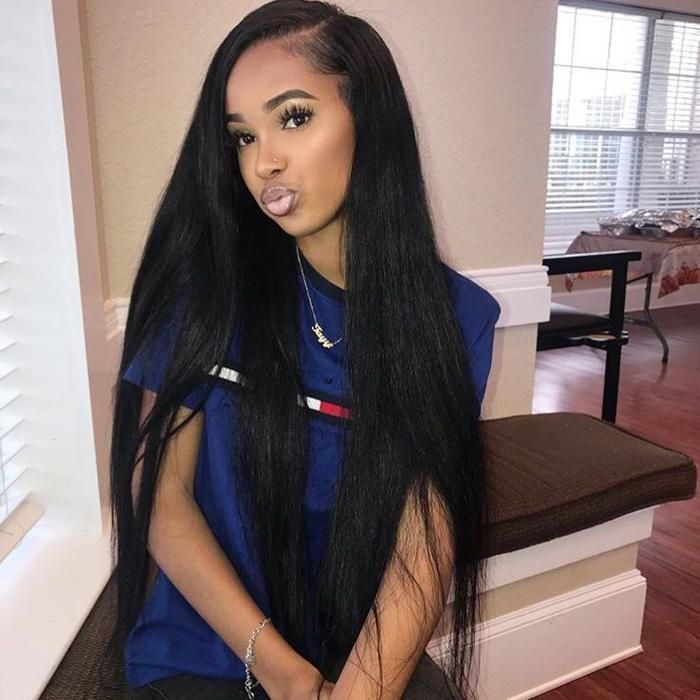 eullair Brazilian Virgin Hair Straight 3 Bundles with 13*4 Lace Frontal #sewins