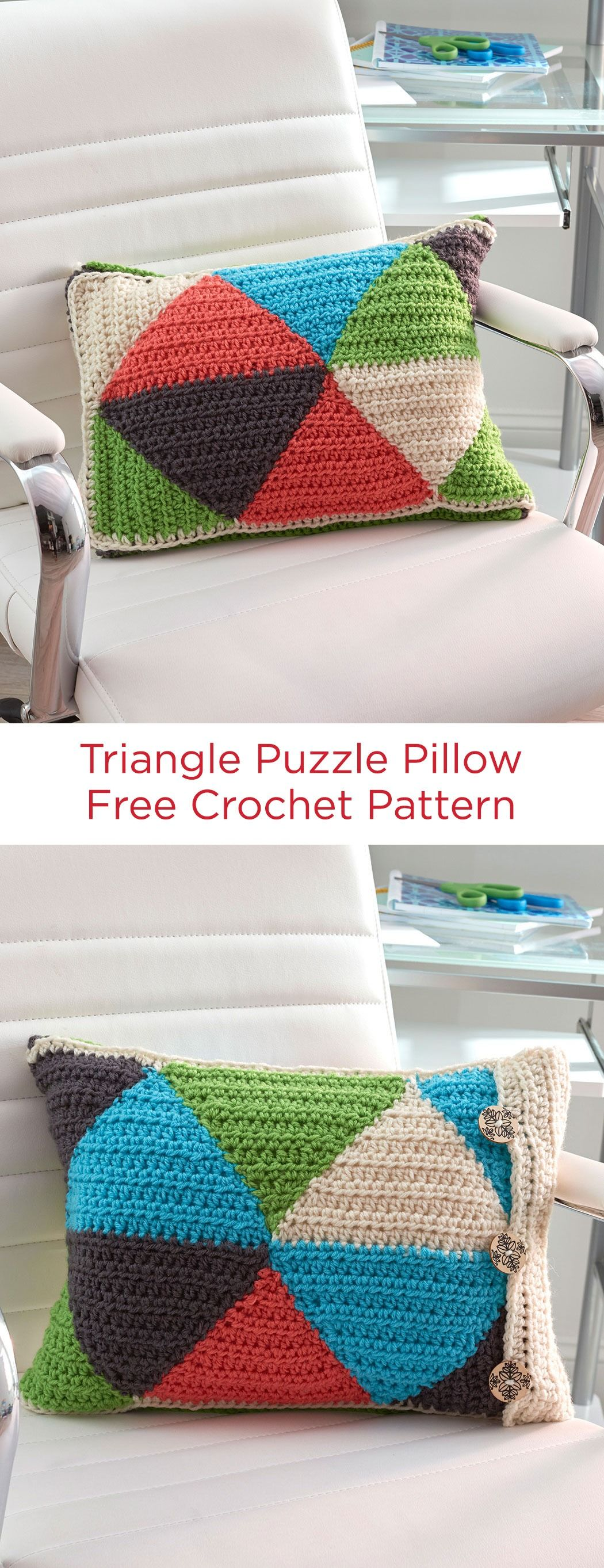 Triangle Puzzle Pillow Free Crochet Pattern in Red Heart Yarns ...