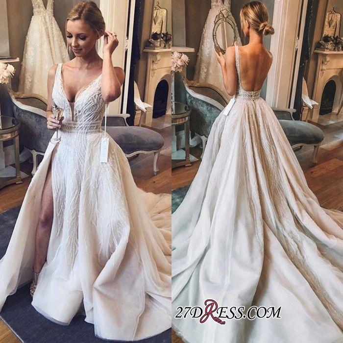 Chic V Neck Sleeveless 2019 Wedding