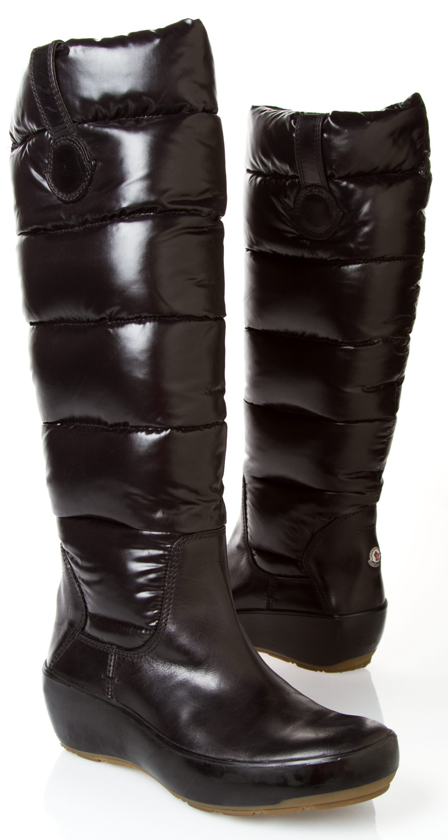 Moncler Black Latex Low Wedge Boots FpdtiO