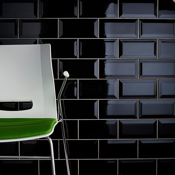 Black Gloss Kitchen Wall Tiles: Johnson Tiles — Intro Collection — Bevel Brick