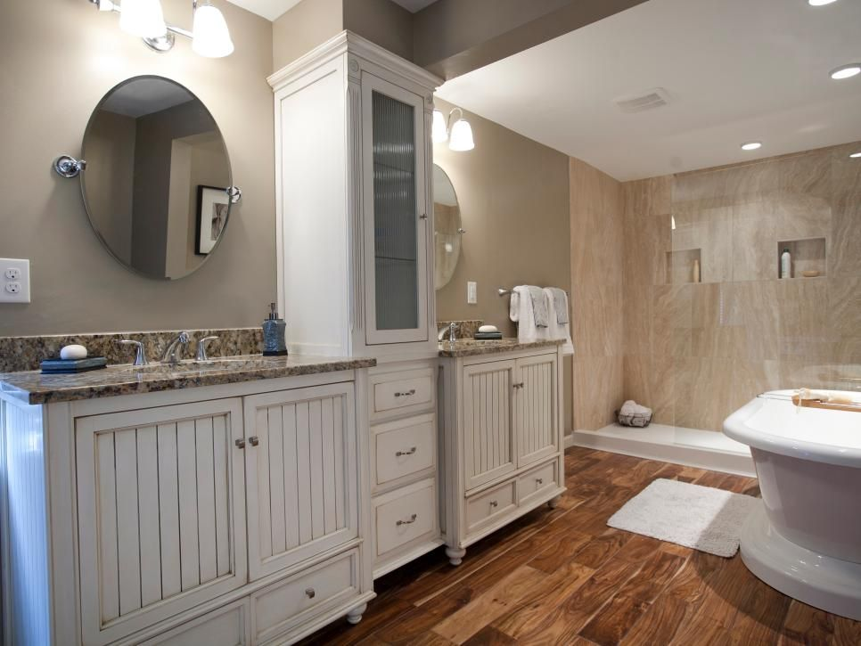 Relax And Rejuvenate In This Spa Bathroom That Features A Picturesque  Shower, Deep Soaking Tub