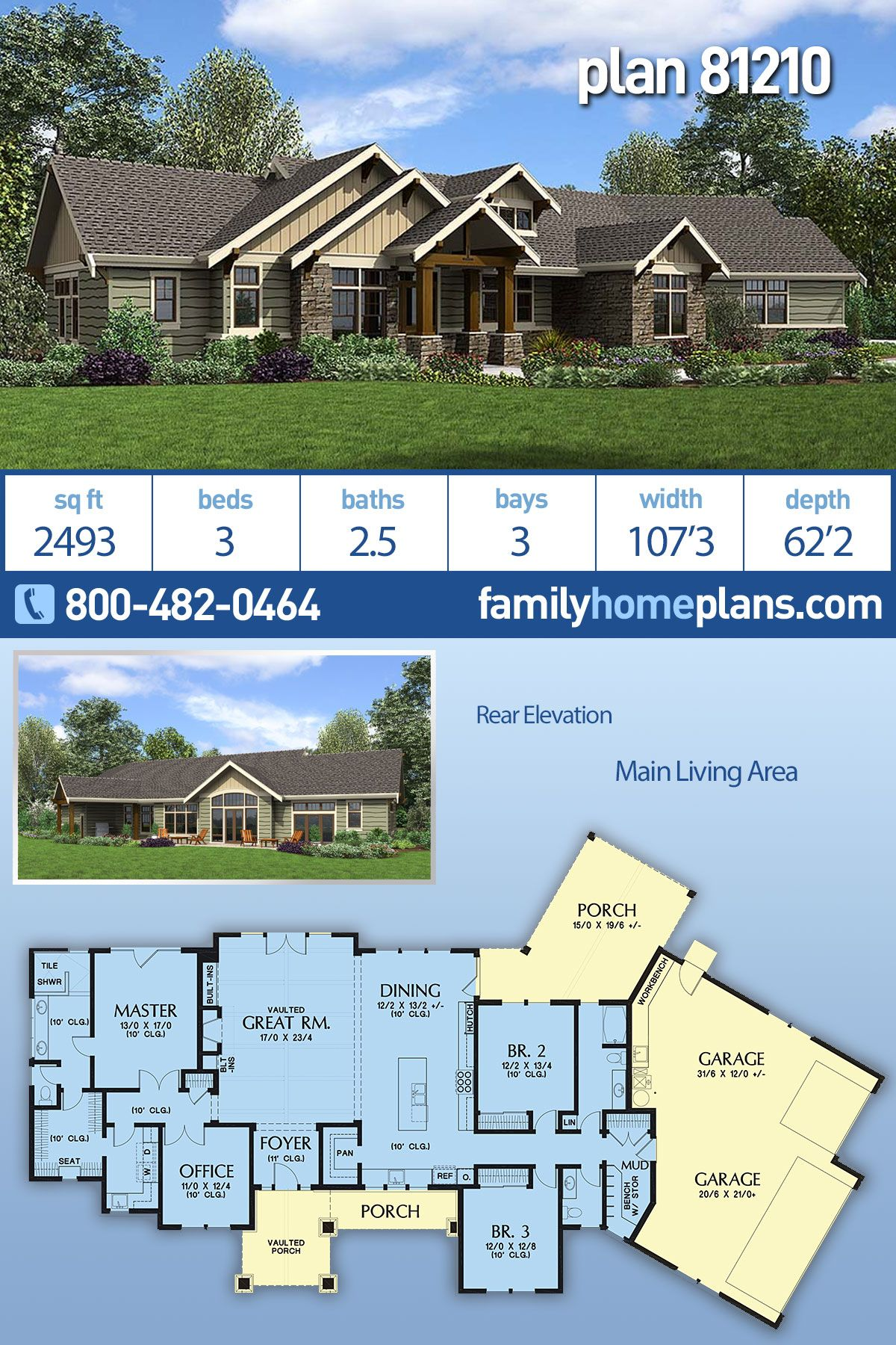Ranch Style House Plan 81210 With 3 Bed 3 Bath 3 Car Garage Ranch Style Homes Ranch Style House Plans Craftsman House