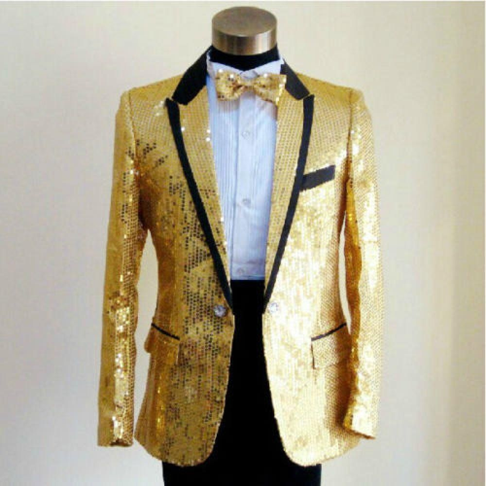 Bling Sequins Jacket Men's Tuxedo Suit Gentleman One Button Coat ...
