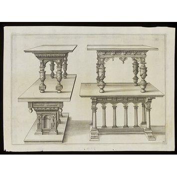 Verscheyden Schrynwerck...geordeneert en geteyckent Door...Paulus Vredeman De Vriese... (Furniture design)