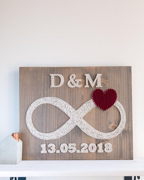 Custom date and initials infinity string art, infinity love symbol wall decor, wedding date initials