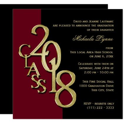 Class of 2018 grad burgundy and gold card college graduation gifts class of 2018 grad burgundy and gold card graduation party invitations card cards cyo grad celebration filmwisefo