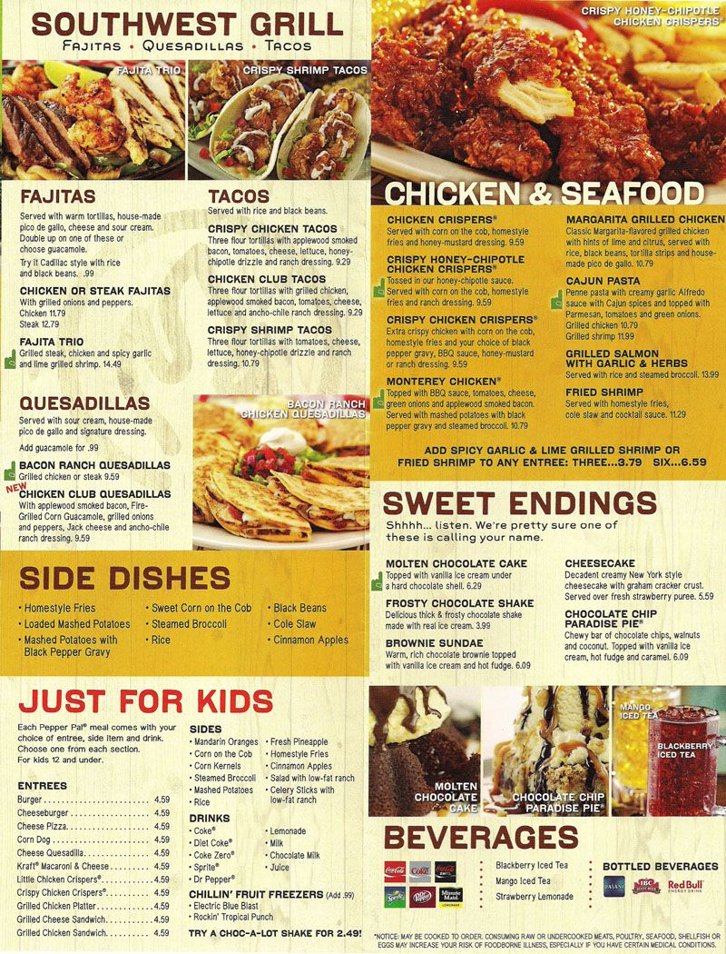 image about Chilis Menu Printable called Chilis Menu Menu Patterns Chilis menu, Shrimp tacos, Chili
