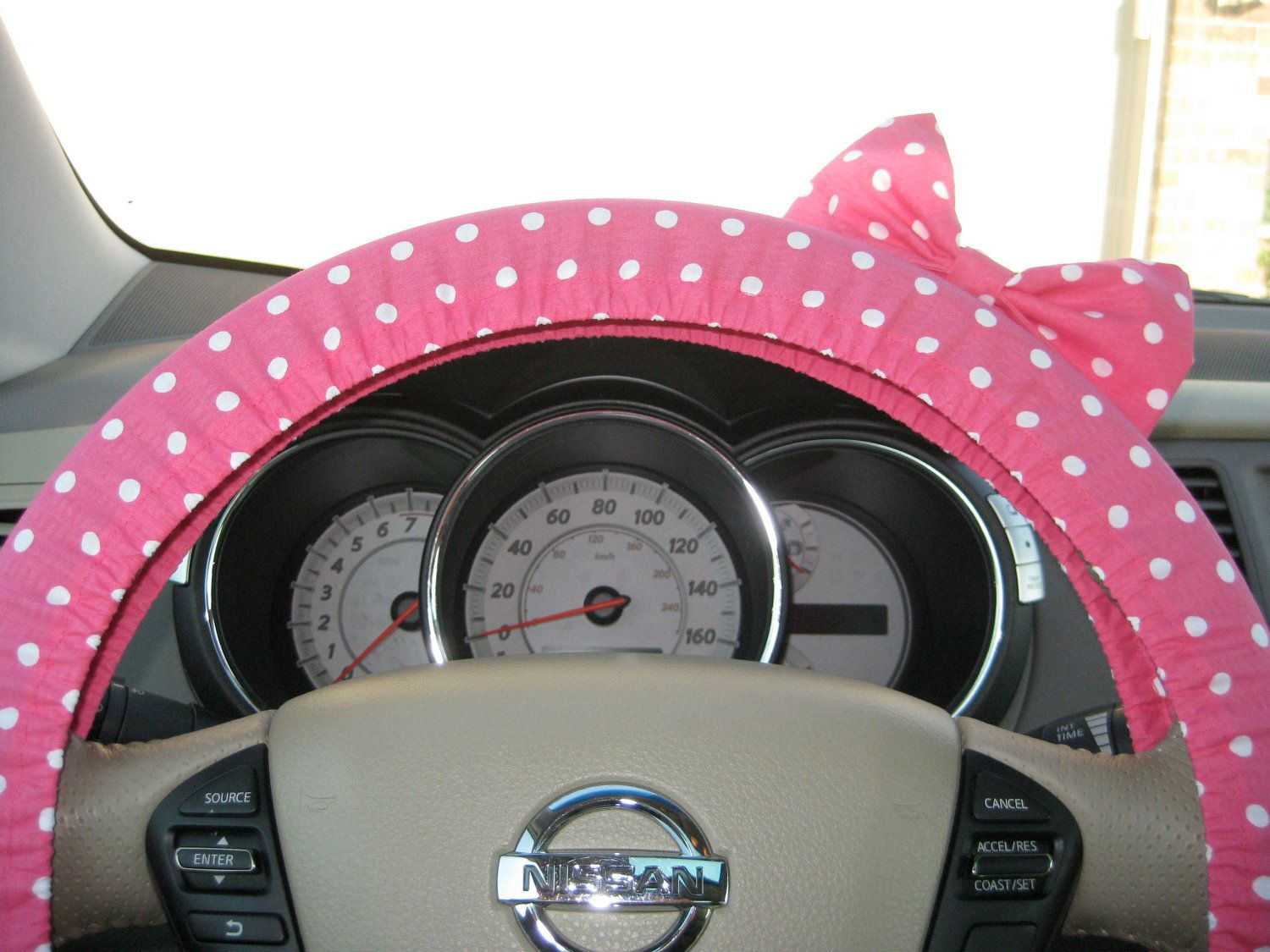 Custom Steering Wheel Cover with Matching Bow. $25.00, via Etsy.