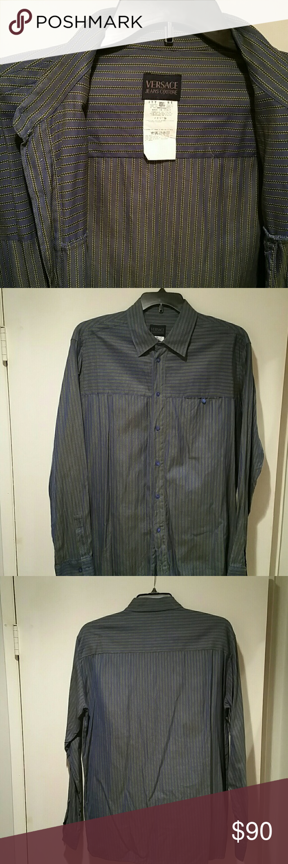 f87b1ef0a Versace Jeans Couture Shirt Versace Jeans Couture long sleeve shirt. Blue  stripes with opalescent green undertone. ULTRA SLIM FIT.