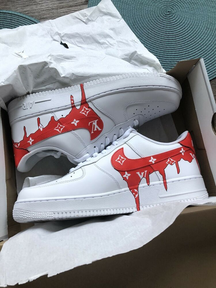 Nike Air Force 1 Custom Red Lv Drip Size 12 5 New With Box Custom Nike Shoes Nike Shoes Air Force Nike Air Shoes