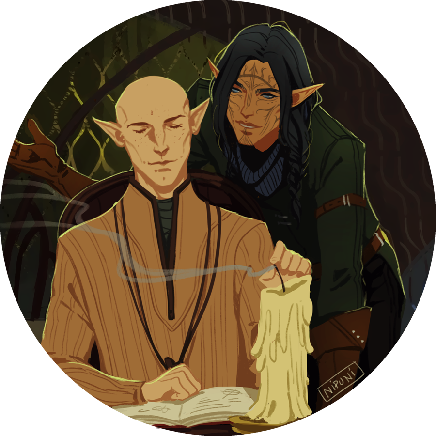 some male solavellan requests! I have four more sketched out but I ran out of art juice today so i'll just post these now , Vir'enleal Lavellan for @eldritchsmuttybarmpot Declan Lavellan for...