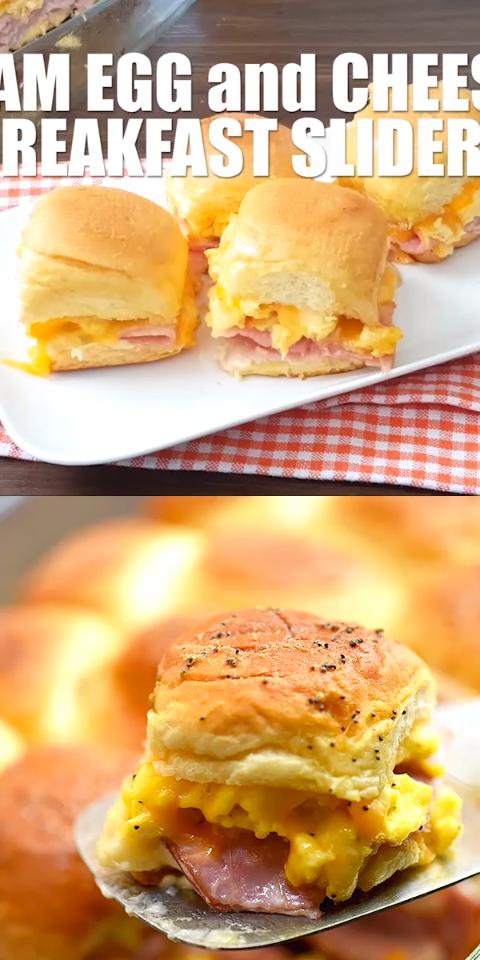 Ham Egg and Cheese Breakfast Sliders #breakfastslidershawaiianrolls