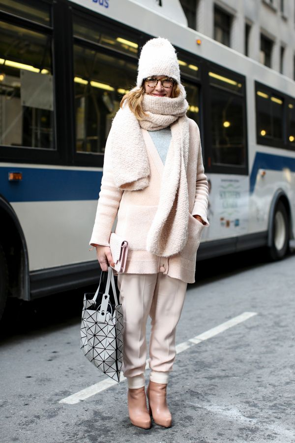 winter outfit - head-to-toe neutral ensemble. Tapered trousers, fuzzy cardigan, matching chunky scarf and fuzzy hat + tan leather ankle boots