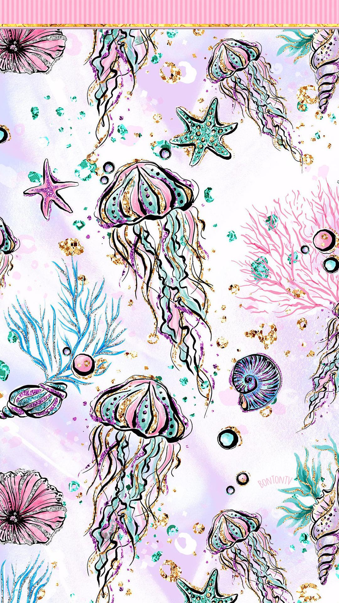 Phone Wallpapers Hd Cute Glitter Sea Life Background Stars Jellyfish Seashells By Bo Mermaid Wallpaper Iphone Love Wallpaper Backgrounds Mermaid Wallpapers