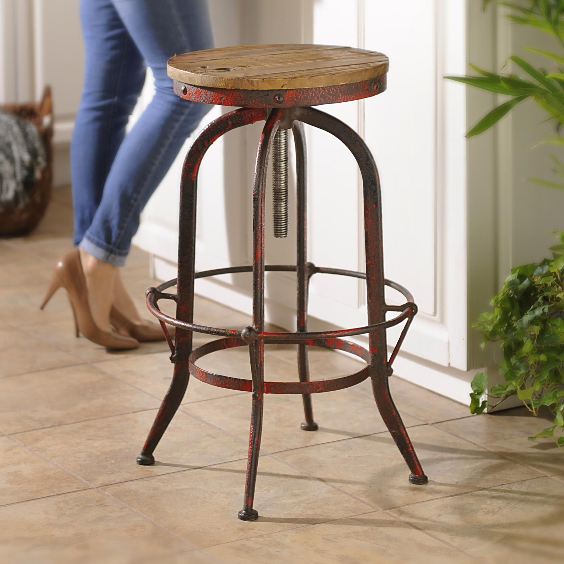 Add Rustic Style To Your Kitchen With Our Red Bar Stool Now On
