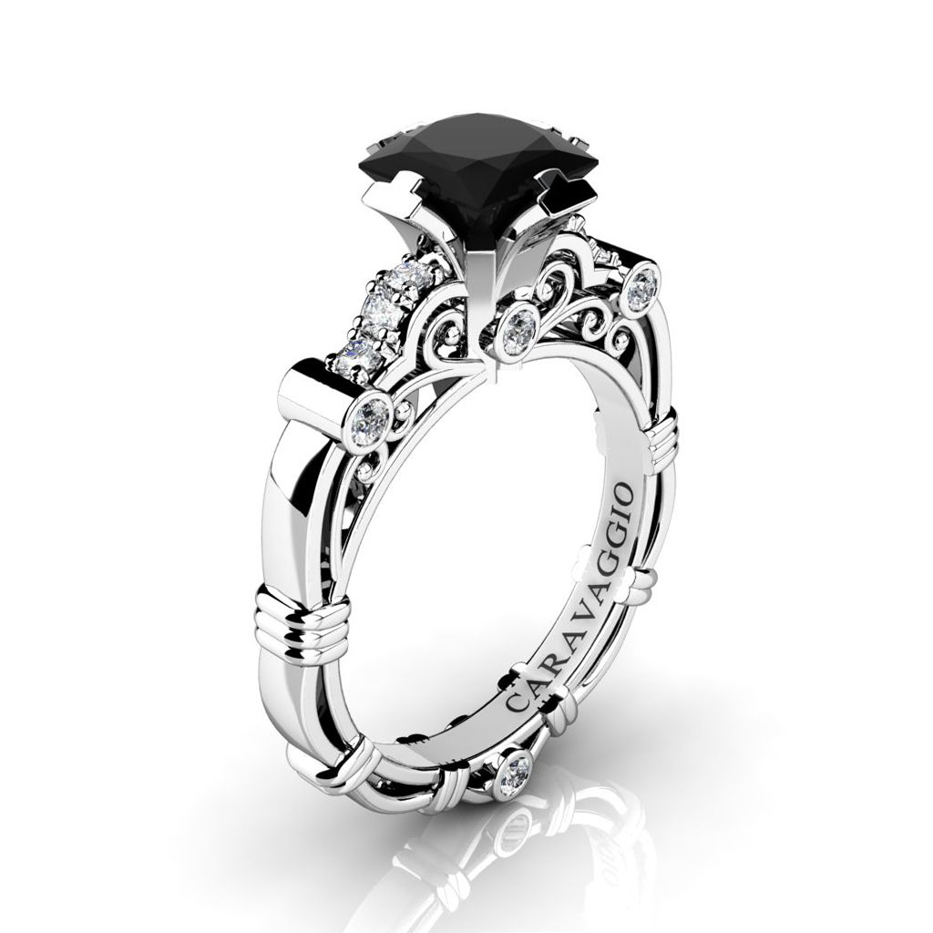 423739673c8e38 Art Masters Caravaggio 950 Platinum 1.25 Ct Princess Black and White Diamond  Engagement Ring R623P-PLATDBD | Art Masters Jewelry
