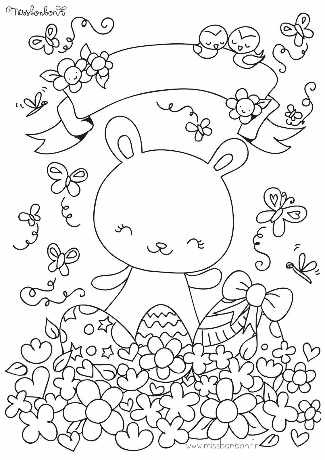 Coloriage de Pâques - Miss Bonbon   dibujos para pintar cata ...