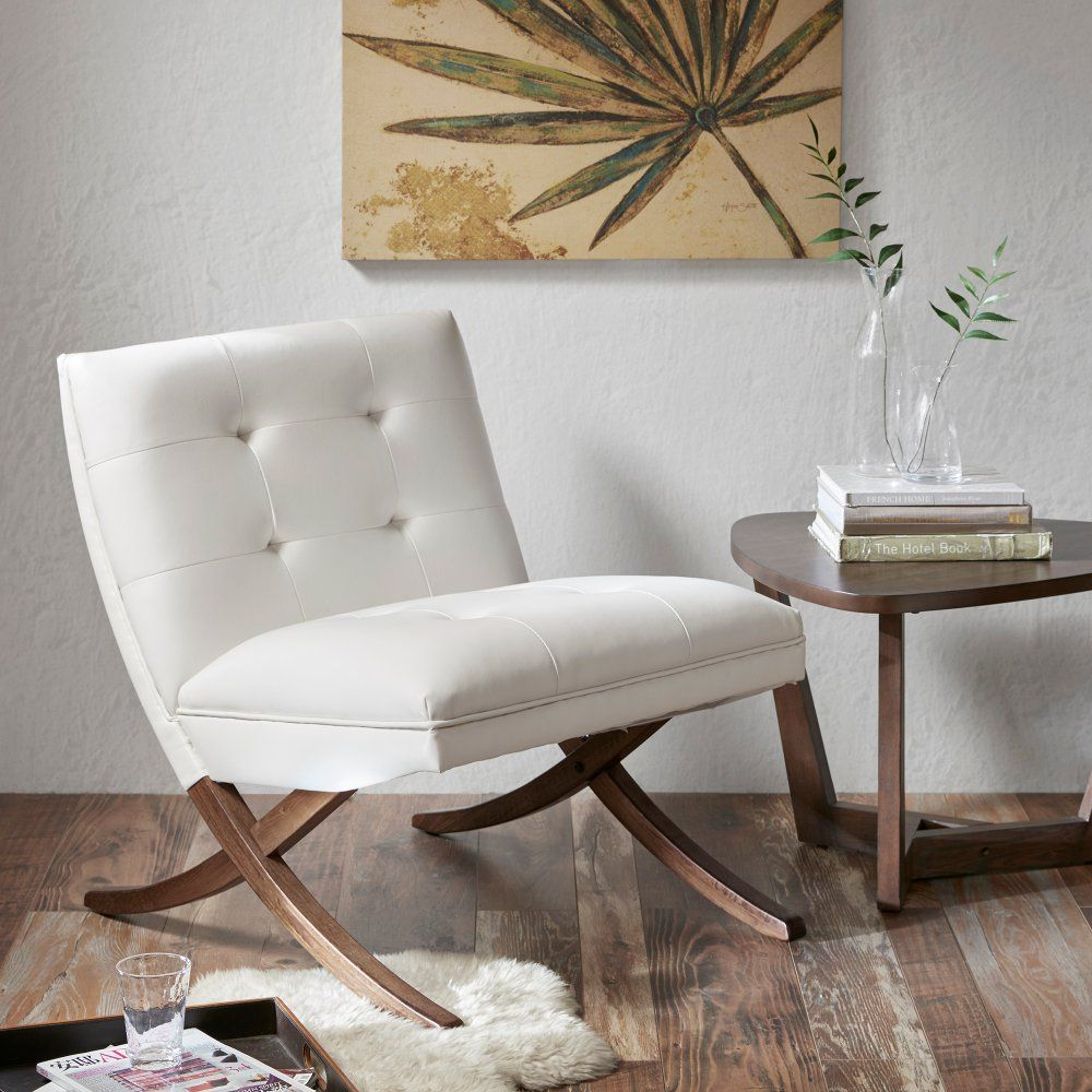 Mid Century Modern White Faux Leather Accent Chair Wynn Rc Willey Furniture Store In 2020 Cream Chair Leather Accent Chair Furniture