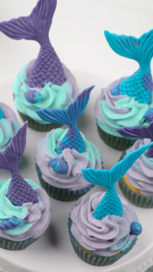 Rezeptvideo: Meerjungfrauen-Cupcakes