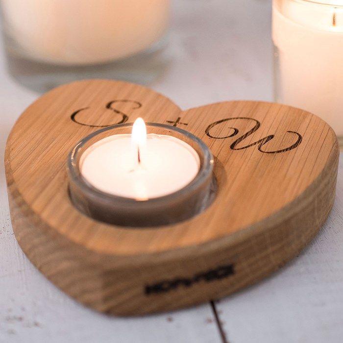 Personalised Wooden Heart Tea Light Candle Holders Tea Lights