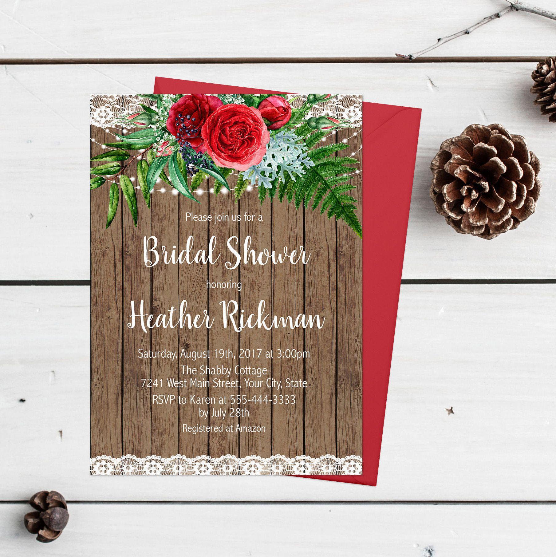 Rustic Bridal Shower Invitation Printable Red Floral Bridal Shower ...
