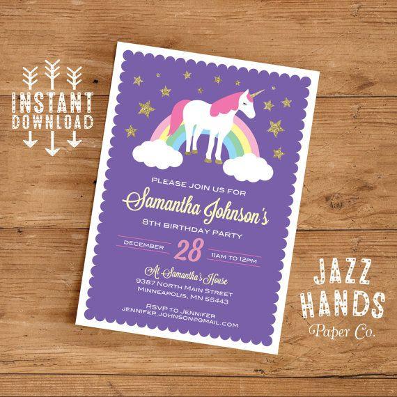 Unicorn Birthday Invitation Template Diy Printable Unicorn Party