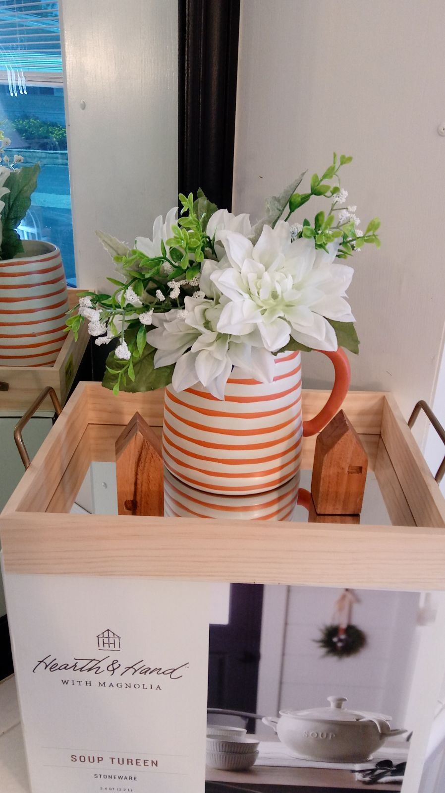 Beautiful wood tray. Farmhouse mirtor tray with handles