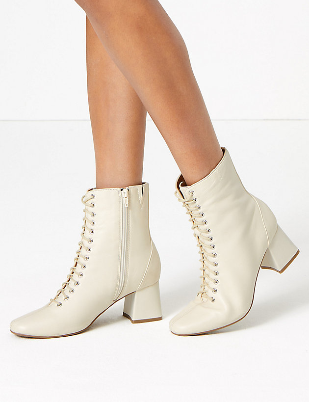 Leather Lace Up Ankle Boots | M\u0026S