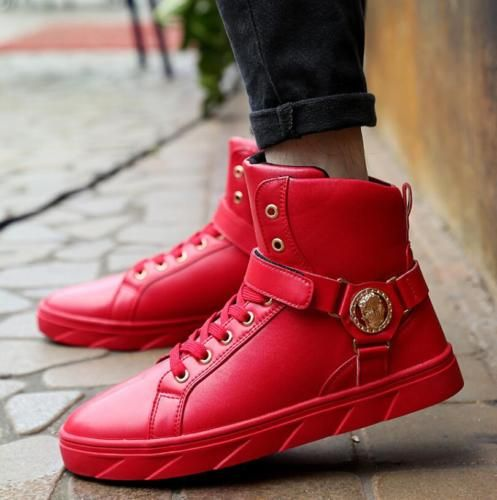 Mens Lace Up Buckle Metal Decor Fashion Sneaker Casual High Top Sports Shoes
