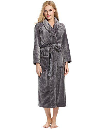 fae454037 Ekouaer Plush Robe Womens Comfort Short Fleece Hotel Wrap Bathrobe ...
