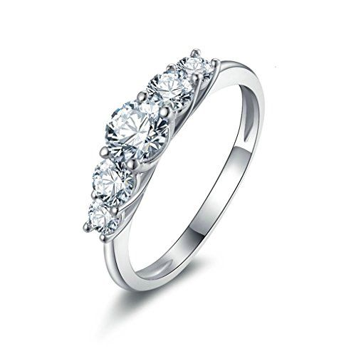 Epinki Platinum Plated Womens Girls Pendant Necklace Cubic Zirconia Circle Ring White Gold
