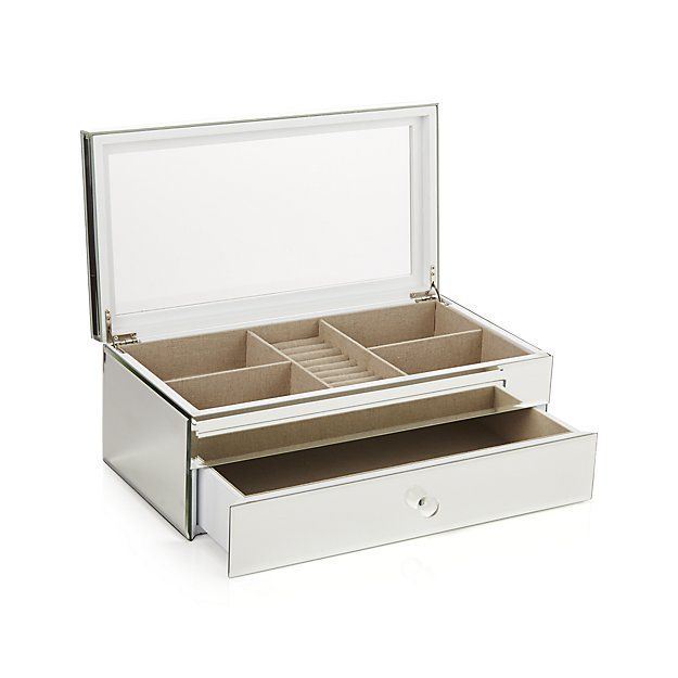 Shop Eleanor Small Jewelry Box Recalling The Glamour Of Art Deco Design This Mirrored Jewelry Box Has Jewelry Box Mirror White Jewelry Box Kids Jewelry Box