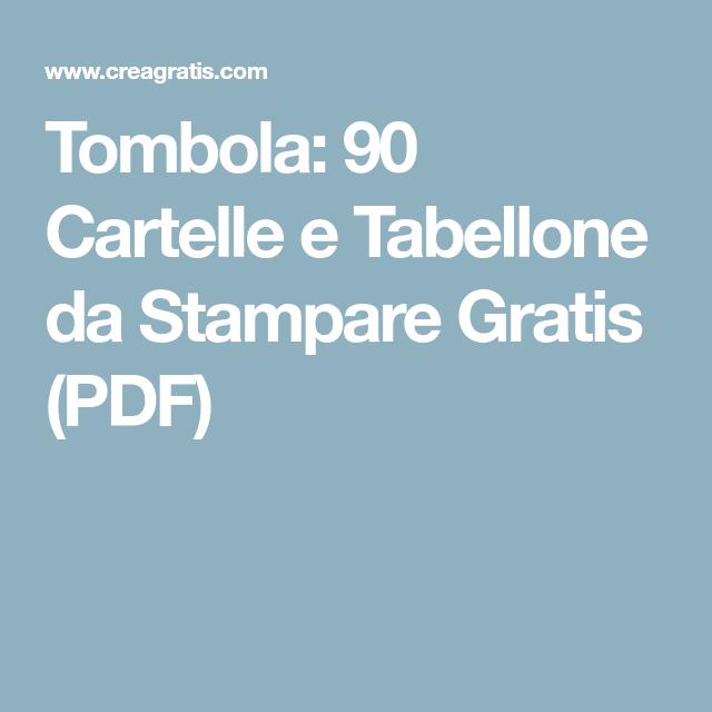 Tombola 90 Cartelle E Tabellone Da Stampare Gratis Pdf